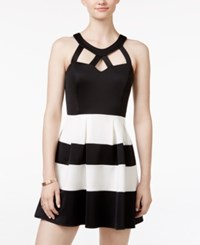 Crystal Doll Juniors' Striped Cutout Fit And Flare Dress Black White