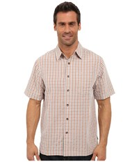 Royal Robbins Desert Pucker Plaid Short Sleeve Shirt Acorn Men's Short Sleeve Button Up Brown