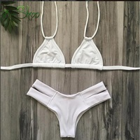Marbella White Out Halter Strappy Cheeky By Milaniabikinis On Etsy