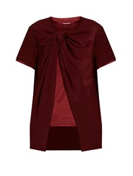 Sies Marjan Twisted Front Silk Crepe And Satin Top Burgundy