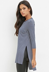 Forever 21 High Slit Striped Tunic Navy White