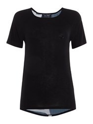 Armani Jeans Short Sleeve Woven Top With Giraffe Print Back Black