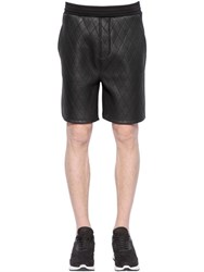 Neil Barrett Quilted Faux Leather And Neoprene Shorts