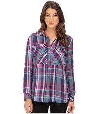 Kut From The Kloth Nora Cargo Pocket Plaid Blouse Eggplant Women's Long Sleeve Pullover Purple