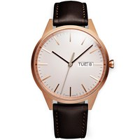 Uniform Wares C40 Rose Gold Day Date Watch Brown Nappa Leather Strap