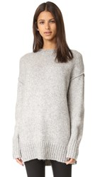 R 13 Oversized Crew Neck Sweater Heather Grey