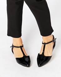 Warehouse Patent T Bar Flat Shoes Blackpatent