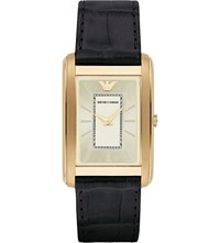 Emporio Armani Ar1902 Gold Plated And Leather Watch Bk1 Black 1