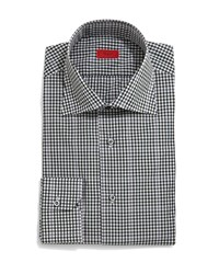 Isaia Gingham Windowpane Long Sleeve Dress Shirt Green