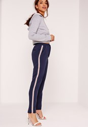Missguided Crepe Side Stripe Joggers Navy Blue