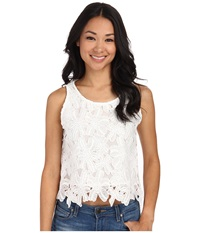 Gabriella Rocha Floral Embroidered Laser Cut Crop Top Off White Women's Clothing