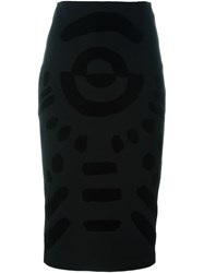 Mcq By Alexander Mcqueen Tribal Markings Flock Skirt Black