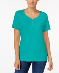 Karen Scott Henley T Shirt Only At Macy's Crisp Teal