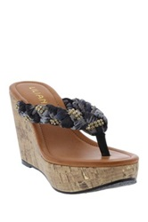 Liliana Genoa Woven Wedge Sandal Black