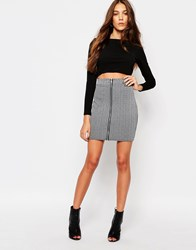 Daisy Street Zip Front Ribbed Mini Skirt Gray