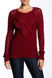 Autumn Cashmere Fringe Crew Neck Sweater Red