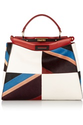 Fendi Peekaboo Large Leather Trimmed Patchwork Calf Hair Tote