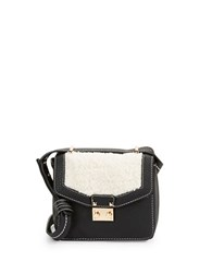 Kensie Sherpa Trimmed Faux Leather Crossbody Black Combo
