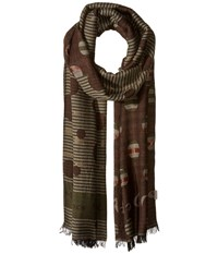 Manila Grace Printed Scarf Brown Mix Scarves