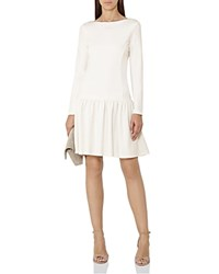Reiss Agnes Drop Waist Jersey Dress Off White