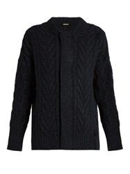 Adam By Adam Lippes Wool And Cashmere Blend Cable Knit Cardigan Navy