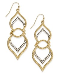 Inc International Concepts Gold Tone Double Petal Pave Earrings Only At Macy's
