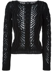 Ermanno Scervino Scoop Neck Macrame Pullover Black