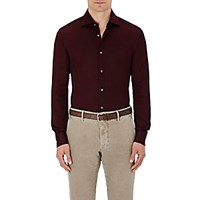 Luciano Barbera Men's Cotton Pique Shirt Burgundy