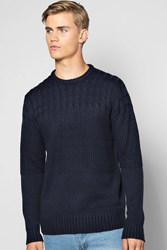 Boohoo Cable Crew Neck Jumper Blue
