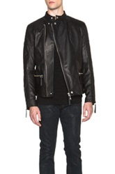 Helmut Lang Glossy Leather Rider Jacket In Black