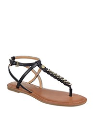 Tommy Hilfiger Lynne Braided Metal Chain Thong Sandals Black