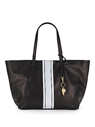 Cynthia Rowley Hayden Leather Racing Stripe Tote Black