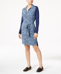 G.H. Bass And Co. Printed Shirt Dress Light Nile Combo