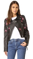 Jn By Jn Llovet Flamingos Leather Jacket Black