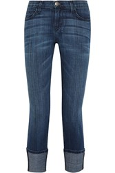 Current Elliott The Cuffed Mid Rise Skinny Jeans Blue