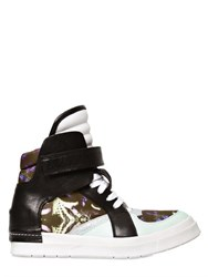 Cinzia Araia Satin And Leather High Top Sneakers