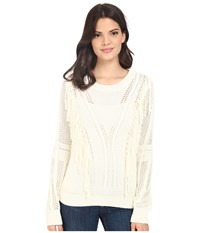 Brigitte Bailey Fringe Front Open Stitch Pullover Winter White Women's Clothing