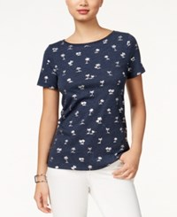 Tommy Hilfiger Metallic Palm Tree Graphic T Shirt Navy Dye