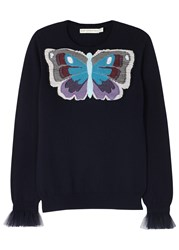 Mary Katrantzou Tuco Butterfly Appliqued Cashmere Jumper Navy