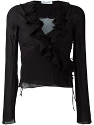 Christian Dior Vintage Ruffle Trim Sheer Blouse Black