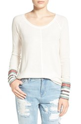 Junior Women's Sun And Shadow Embroidered Long Sleeve Tee Ivory Egret