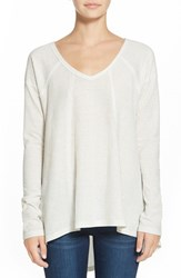 Junior Women's Sun And Shadow V Neck Thermal Swing Top Ivory Egret