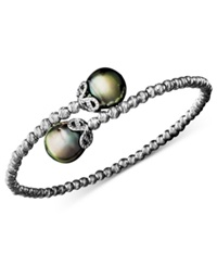 Macy's Pearl Bracelet Sterling Silver Cultured Tahitian Pearl 9Mm And Sparkle Bead Cuff