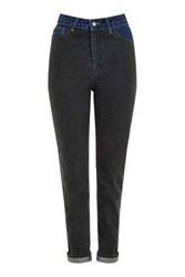 Topshop Moto Two Tone Panelled Mom Jeans Blue Black