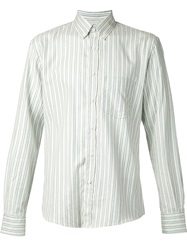 Umit Benan Striped Button Down Shirt Green