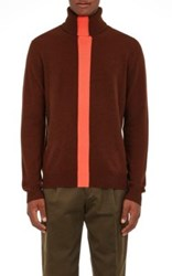 Paul Smith Men's Single Striped Cashmere Turtleneck Sweater Burgundy Orange No Color Burgundy Orange No Color