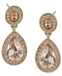 Carolee Earrings Gold Tone Pave Glass Teardrop Earrings