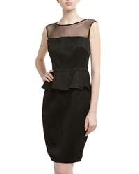 David Meister Sleeveless Jacquard Peplum Cocktail Dress Black Blac