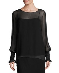 The Row Laver Crinkled Chiffon Blouse Black