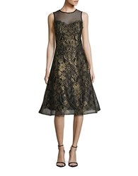 Teri Jon Sleeveless Embroidered Mesh A Line Midi Dress Gold Black